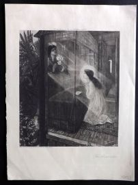 After Edward Burne Jones C1900 Antique Print. The Annunciation